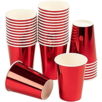 Red Paper Cups - 36-Pack Disposable 12oz Cups Red Foil Drinking Cups for Cold Beverages Party Decoration Supplies