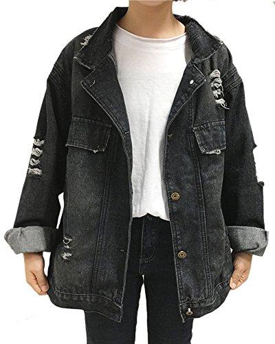 Damen Lose Zerrissene Jeansjacke Langarmshirt Oversize Denim Jacke Outwear Schwarz L