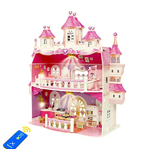 KAINSY Dollhouse for Girls, Large Castle Two-Story Playhouse Dolls...
