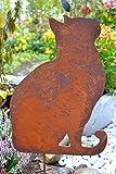 Katze auf Stab (ohne Maus)- Edelrost Stecker - Gartenstecker sehr stabil - Qualitativ hochwertig - Katze auf Stab zum Einstecken in Erde, ,Abmessung Gesamthöhe 65 cm, Breite 54 cm pro Stück, witterungsbeständig