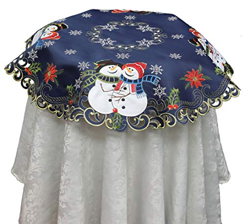 "Creative Linens Holiday Christmas Tablecloth 33"" Round Embroidered Snowman Snowflake Poinsettia Winter Table Topper Blue Gold"