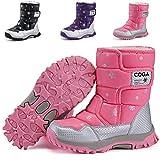 DADAWEN Boy's Girl's Outdoor Waterproof Cold Weather Snow Boots(Toddler/Little Kid/Big Kid) Pink US