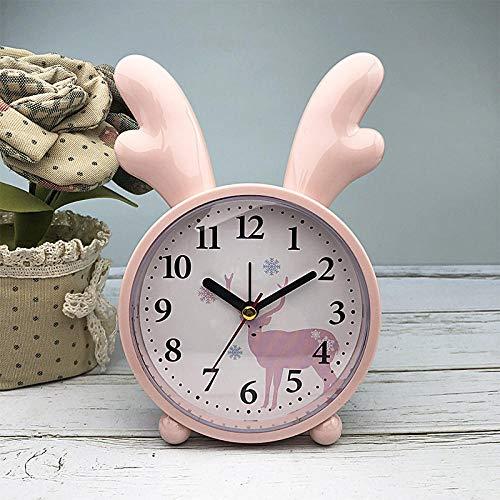 JLCK Silent Alarm Clocks Bedside Non Ticking Table Clocks Battery Powered Travel Clock Loud Alarm Large Display The Best Gift for Children-Pink B