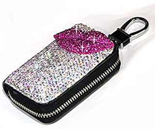 Bestbling Bling Bling Car Key Holder 3D Handmade Leather Auto Key Case Car Key Gourd Leather Holder Cover Case with Luxury Bling Crystal Diamond Rhinestones (Lips Rose)