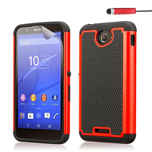 32nd® Funda Rígida Anti-Choques de Alta Proteccion para Sony Xperia E4 Carcasa Defensora de Doble Capa - Rojo