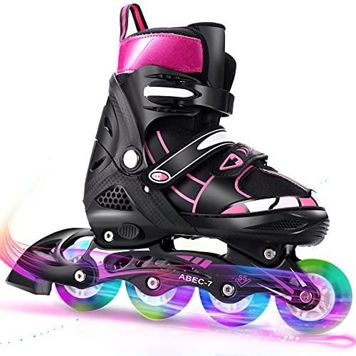 WeSkate Rollers Enfant Confortable avec Roues Taille Ajustable Patins à roulettes Filles et Garçons Taille S M L (Rose,Bleu)