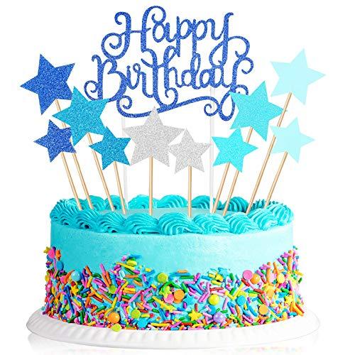 Tortendeko Geburtstag Set, enthält 40 Stück Glitter Stern Topper und Happy Birthday Kuchen Deko Cake Topper Picks für Party Favors DIY, Blau