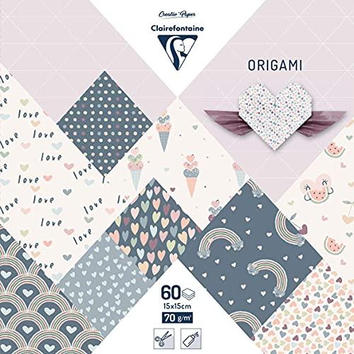 Clairefontaine 95356C – ein Beutel Origami 60 Blatt 15 x 15 cm 70 g verschiedene Motive (30 Motive x 2 Blatt), Little Love