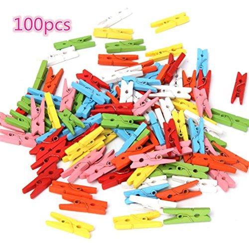 ULTNICE Lot de 100 mini pinces à linge en bois pour suspendre des photos, des cartes, des messages