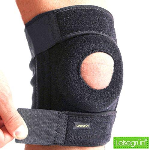 Leisegrün Sport Kniebandage, optimaler Support. Knieschoner geeignet für Damen, Herren & Kinder, rechts und Links tragbar, elastisch & atmungsaktiv