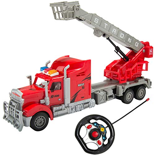 1/15 Scale Remote Control Red Big Rig Tractor Trailer Hauler Rescue Truck R/C Toy for Adults, Boys, Girls, Kids