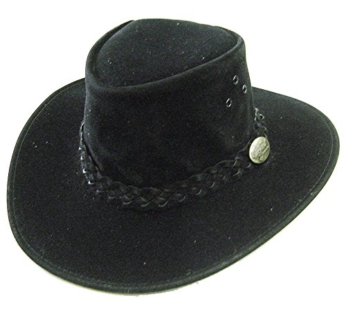Modestone Unisex Jacaru Polysuede Soak in Water Keep Cool Chapeaux Cowboy Black
