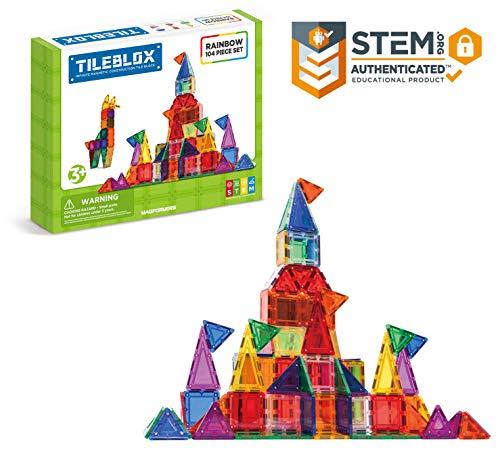 Tileblox Rainbow 104pc Set Magnetic Building Blocks, Educational Magnetic Tiles Kit , Magnetic Construction STEM Toy Set