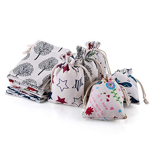 25 sacos de yute de lino para joyas, para Navidad, cumpleaños infantiles, bodas, fiestas, manualidades