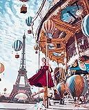Pintura por números Parque de atracciones romántico Effiel Tower para Adultos y niños Pintar Diy al óleo de Bricolaje con Marco Pinceles Principiantes Hogar Decoraciones Colores Acrílica Conjunto