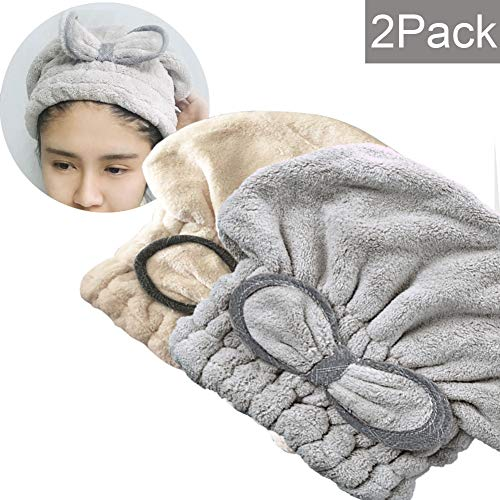 [New Upgrade] SweetCat Microfiber Hair Drying Towel Cap, Extrame Soft & Ultra Absorbent, Fast Drying Hair Shower Cap for Girls and Women (Gray+White)