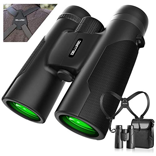 12x42 Binoculars for Adults with Binoculars Harness Strap Bag, Low Light Night Vision Compact Binoculars for Bird Watching Hunting Travel Concerts Sightseeing Sports Games BAK4 Prism FMC Lens