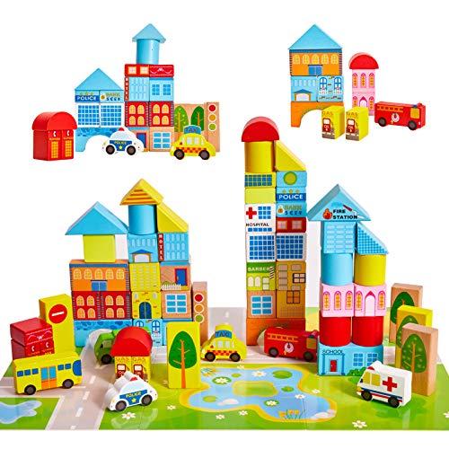 Onshine Coloreados Bloques de Construcción de Tráfico Transporte Urbano Juguetes Madera 62 Piezas de Juegos Educativos Puzzle para Niños Más de 3 Años