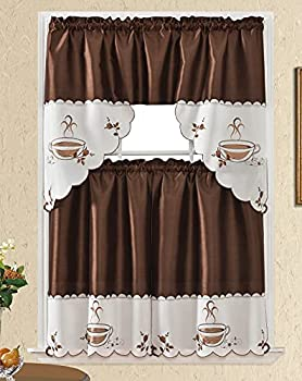 3pc Rod Pocket Embroidered Kitchen Curtains and Valances Set Swag Curtains & Tier Set 36 Inch Length Café Coffee Cappuccino Brown
