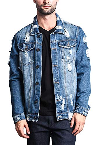 Victorious Men's Casual Distressed Denim Jean Jacket DK100 - Indigo - Medium - II7C