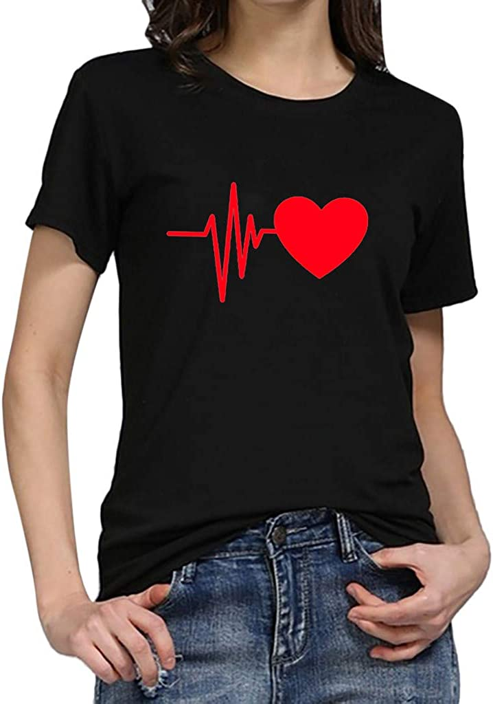 POTO Short Sleeve Tops for Womens,Women's Casual Summer Short Sleeve O-Neck T-Shirt Heart Print Tee Loose Fit Blouses