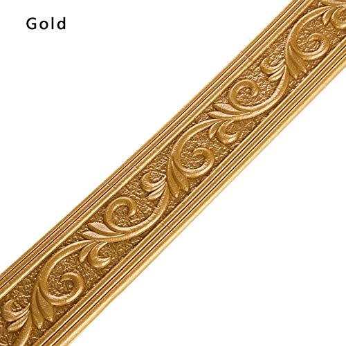 3D Solid Anti-Kollisionskante Dekorative Streifen Sockelleiste Wandaufkleber DIY Selbstklebende Tapete Wasserdichte Taillenlinie Aufkleber, Gold