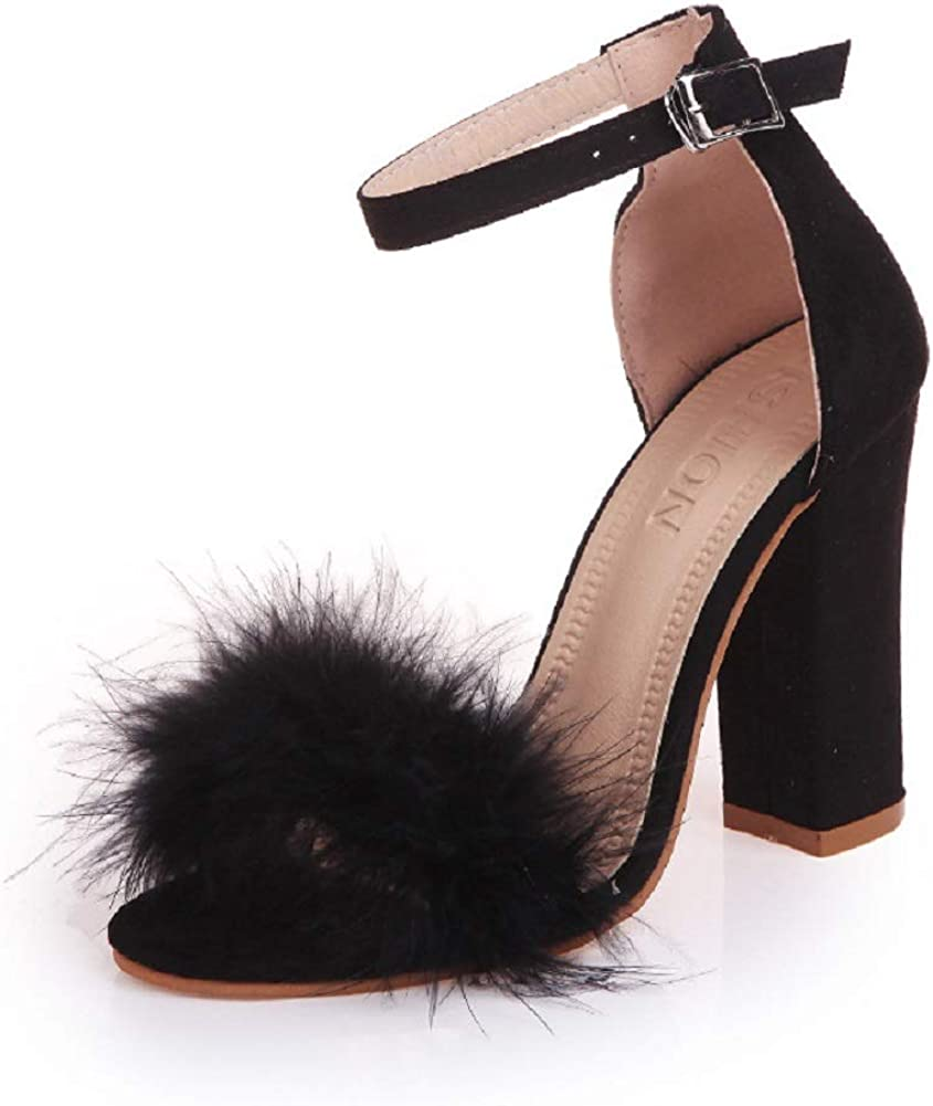 YIBLBOX Women's Open Toe Sandal Fluffy H Lace All items Max 42% OFF free shipping Strappy Feather Up