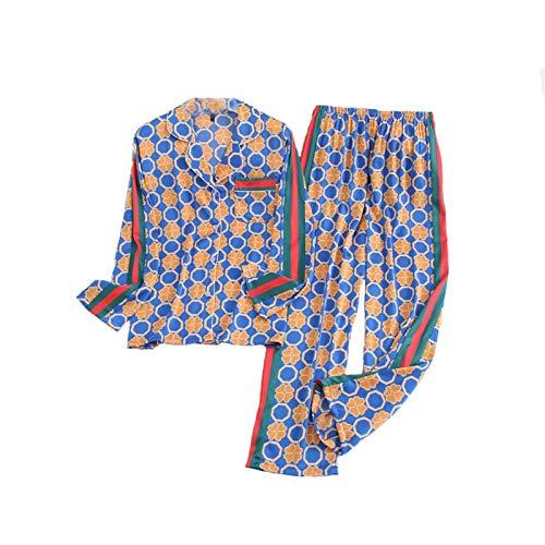 Ondergoed Dames Lange Broek Herfst Pyjama Sets Ice Silk Nieuwe Collectie Floral Print Leuke mooie nachtkleding slaapkleding (Color : Blue set, Size : 1XL)