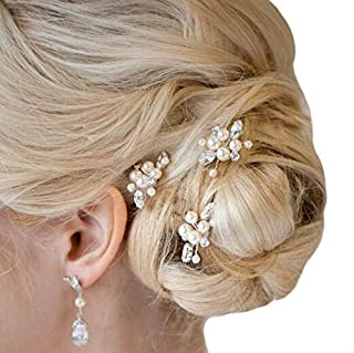 Aukmla Bride Wedding Hair Pins Flower Clips Bridal Hair Accessories Decorative for Women and Girls 3PCS (Gold)