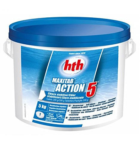 Hth Action 5- Chlore Multifonction stabilisé - 5kg (Galet 200g)