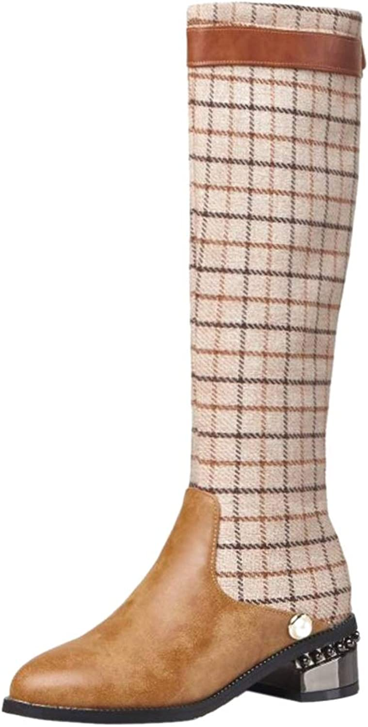 Kaizi Karzi Women Fashion Knee High Boots Zip Plaid