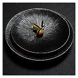ZWMG Platos de Comida Placas de Cena de Porcelana Negra Mate Redondeadas con Placas de Postre de cerámica de Borde de Oro para bistec y Pasta de Ensalada de bistec para 2 (Color : Black)