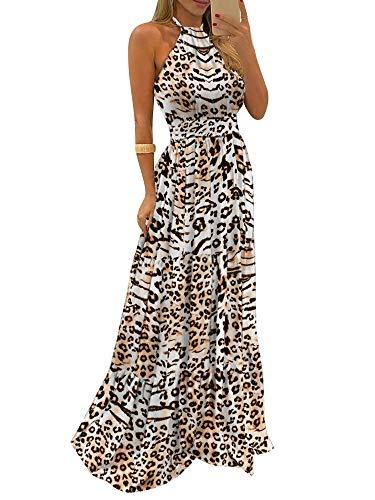 Donna Vestito Lungo Primaverile/Estivo Elegante Stampa Leopardo e Farfalla Senza Manica Scollo all 'Americana Abito Senza Schienale Siancrato Sexy Asimmetrico Autunnale (Leopardo, M)