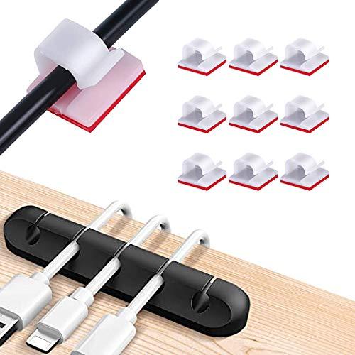 110 Piezas Mini Clips de Cable(blanco)+1piezas organizador de cables(negro),clips cables,Grapas de Pared para Cables,plástico organizadores de cables de gestión de almacenamiento para Home Office