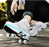 XRDSHY Rodillos Chica, Deformación Quad Plegable LED Zapatos Con...
