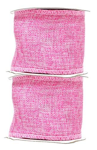 Pink Burlap Ribbon 3 Inch 2 Rolls 20 Yards Unwired Rustic Jute Ribbon for Crafts, Mason Jars, Weddings, Party Decoration; by Mandala Crafts