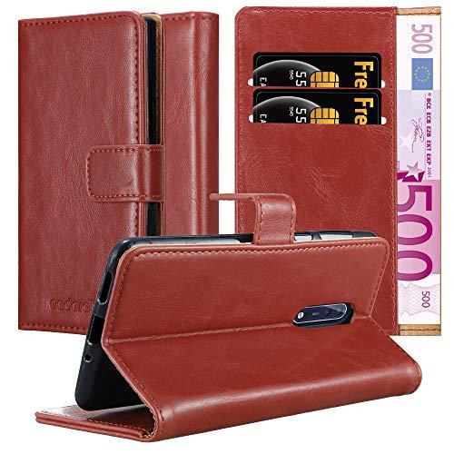 Cadorabo Custodia Libro per Nokia 8 2017 in Rosso Vinaccia - con Vani di Carte, Funzione Stand e Chiusura Magnetica - Portafoglio Cover Case Wallet Book Etui Protezione