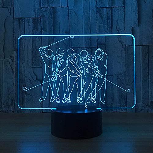 Lámpara de noche de ilusión 3D 3D ilusión nocturna Lámpara de escritorio 3D Artes Lámpara de Golf 16 colores Auto Cambio gradual USB Powered Led Luces con interruptor táctil para regalos de niños