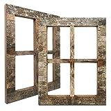 Eosglac Rustic Window Frames Birch Bark Wall Decor, Farmhouse Wood Pane Decorations for Living Room Bedroom Bathroom Indoor or Outdoor, 13x16.7 inch Set of 2