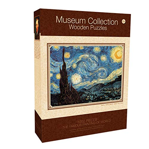 Uitstekend Puzzel houten puzzel 1000 Stuks Adult Benefit Intelligence Toy Sterrenhemel beroemde schilderij Landschap Olieverf New Year Creative Verdikken (Color : A)