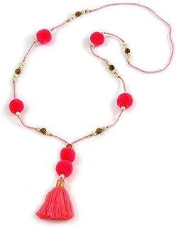 Collar largo con cuentas de cristal rosa neón, pompón, borla de 88 cm de largo y 10 cm de largo