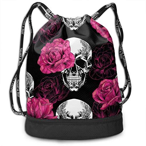 Petrichor Yi roze rozen schedel trekkoord rugzak trekkoord tassen