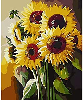 YZHI Paint by Numbers for Adults Kids DIY Canvas Painting Kit for Beginners 16x20 Inch (Sunflower)