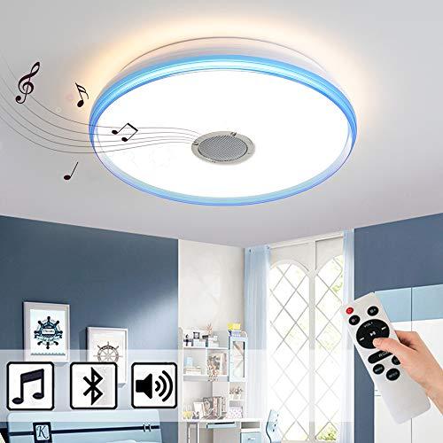 Natsen Bluetooth Deckenleuchte LED Deckenlampe mit Lautsprecher dimmbar mit Fernbedienung 24W (Blau Weiß +Fernbedienung ohne RGB)