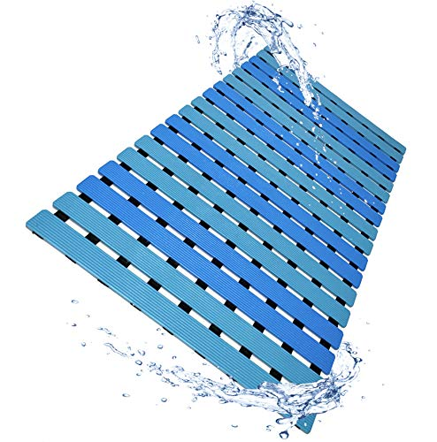 LuxurYou Non Slip Bathtub Mat Mildew and Mold Resistant Shower Floor Mat with Suction Cups | Easy Dry Construction | Non-Toxic, BPA, Latex, Phthalate Free (Wave)