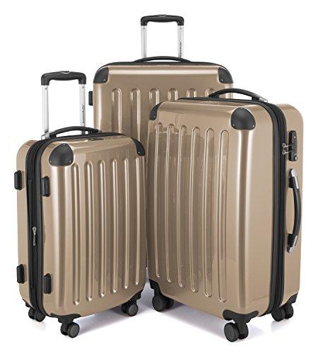 Hauptstadtkoffer - Alex - 3er-Koffer-Set Trolley-Set Rollkoffer Reisekoffer-Set Erweiterbar, TSA Zahlenschloss, 4 Rollen, (S, M & XL), Champagner + Design Kofferanhänger