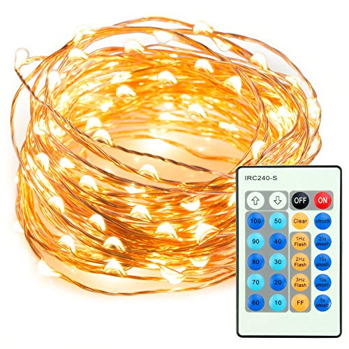 TaoTronics TT-SL036 33ft 100 LED String Lights Dimmable with Remote Control, Waterproof Decorative Lights.