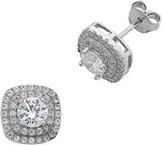 Bevilles Sterling Silver Cubic Zirconia Double Halo Stud Earrings