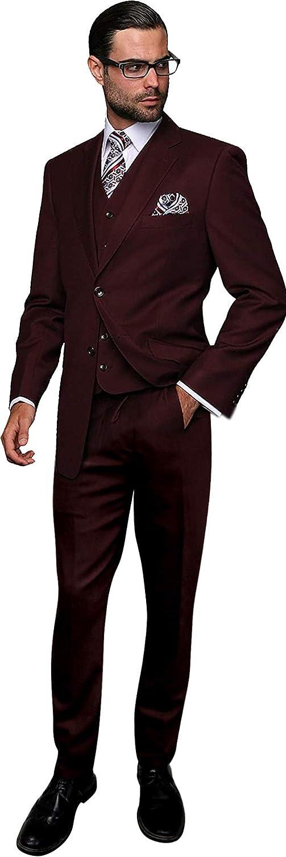 Men's 4PC Wool Burgundy Formal Suit Reg Fit Single Breasted Vest Pants Tie Set