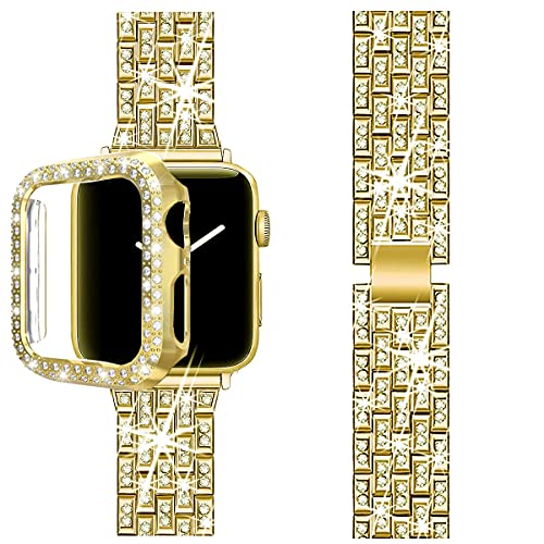 BORCHY Compatible with Apple Watch Band 44mm with Case, Women Jewelry Bling Diamond Metal Strap Soft PC Bumper Protective Case for iWatch Series 6/5/4 SE(Gold)
